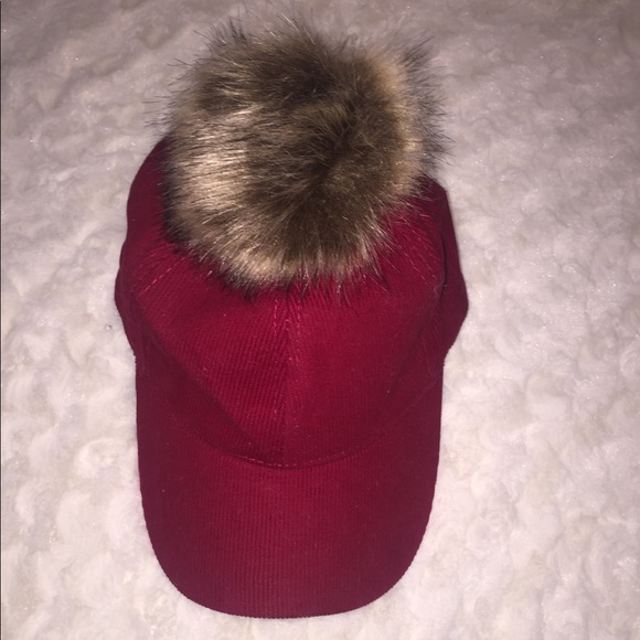 1ead0c604bd1f David   Young Red Baseball Hat With Pom Pom